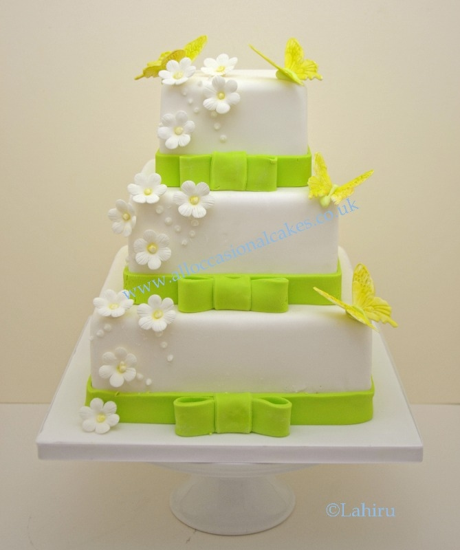 lime green butterfly wedding cake