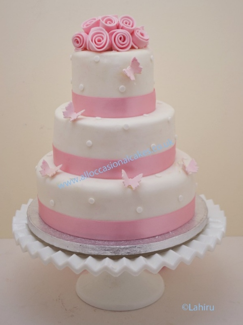 pale pink wedding cake 3 tier from 165