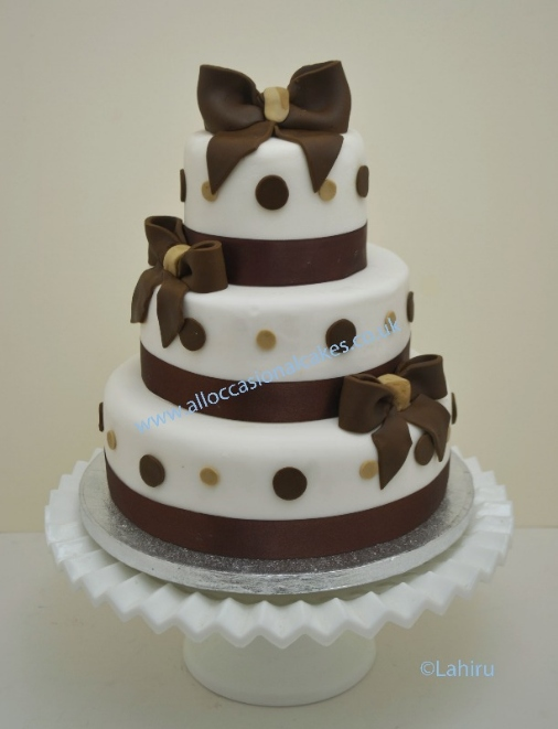 Chocolate Brown Ribbon With Polka Dots Wedding Cakes 3 Tier From 165 Bristol