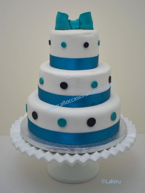 Ocean Blue Ribbon With White Roses Bristol Wedding Cakes Designer