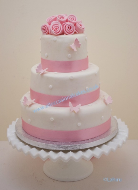 pink roses & butterflys wedding cake