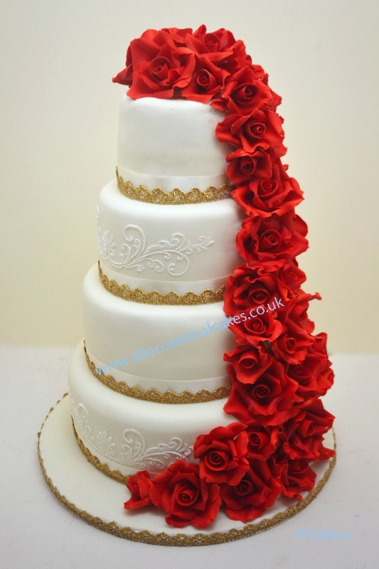 asian wedding sugar rose cascade wedding cake