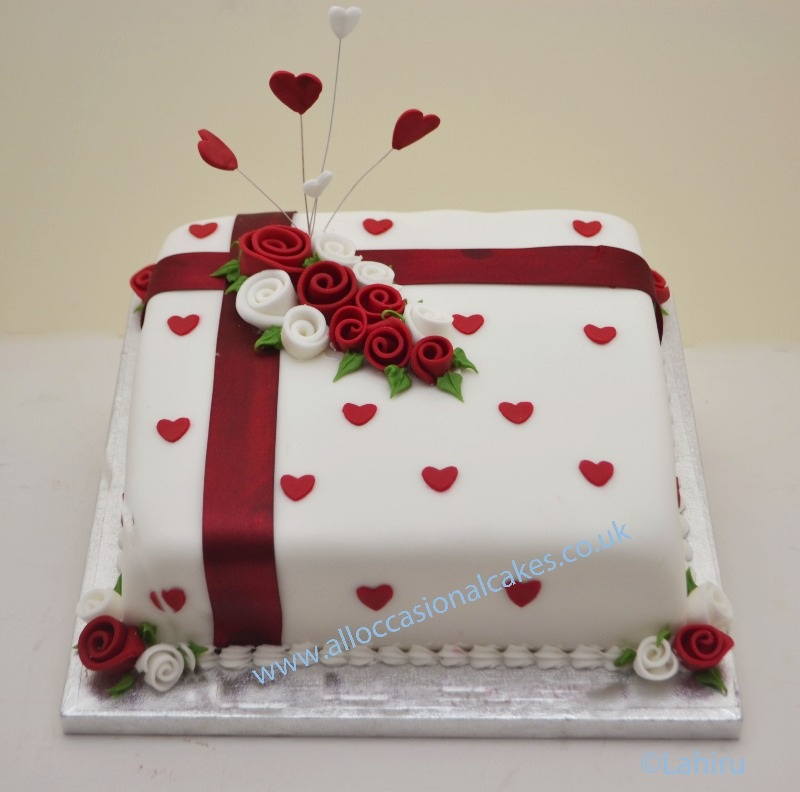 Ruby rose wedding anniversary cake from 55 for Anniversary cake decoration