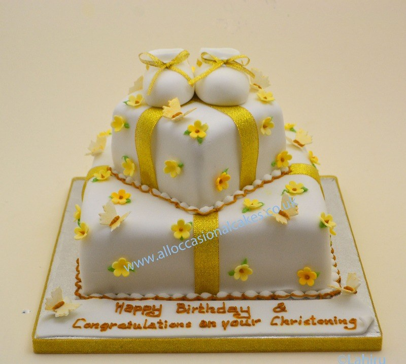 gold and yellow christening cake