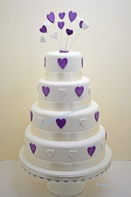 Lilac and white heart wedding cake