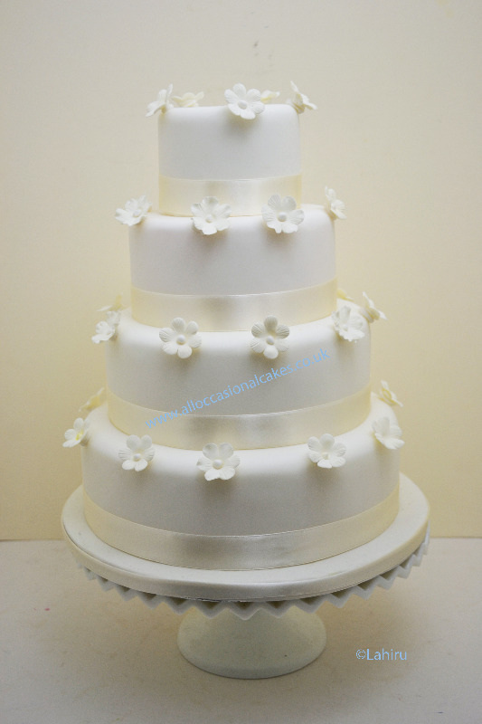 Ivory Blossom Wedding Cake 4 Tier From GBP 290