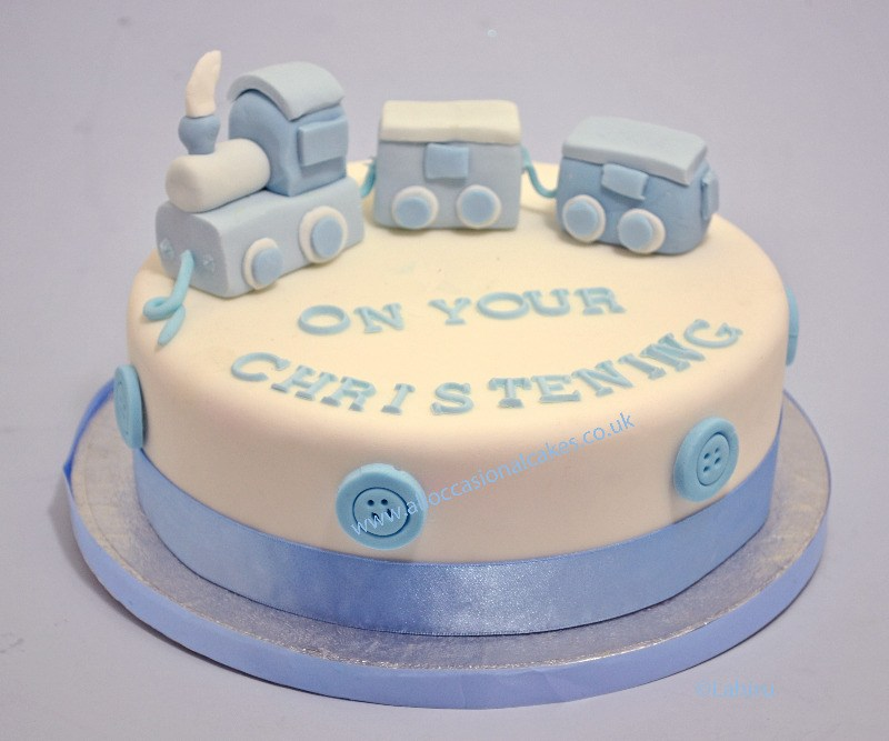 train christening cake for baby boy