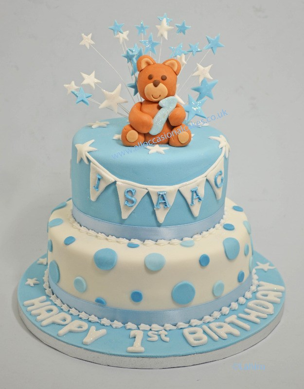 teddy with stars cake topper