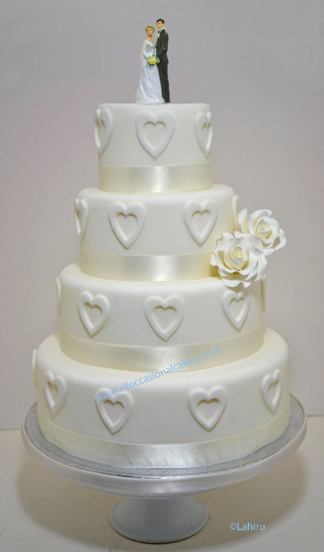 Ivory Rose With Love Hearts Wedding Cake