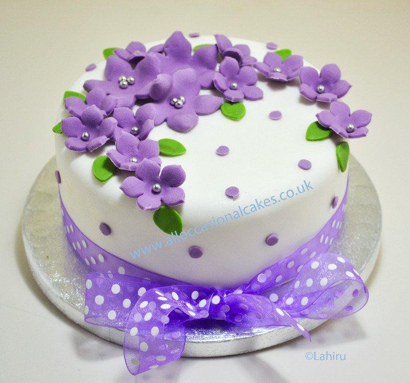 lilac ribbon cake