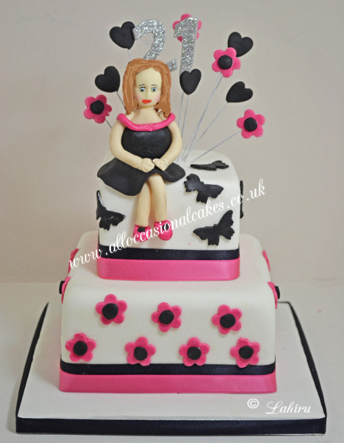 pink and black 21 st birthday cake