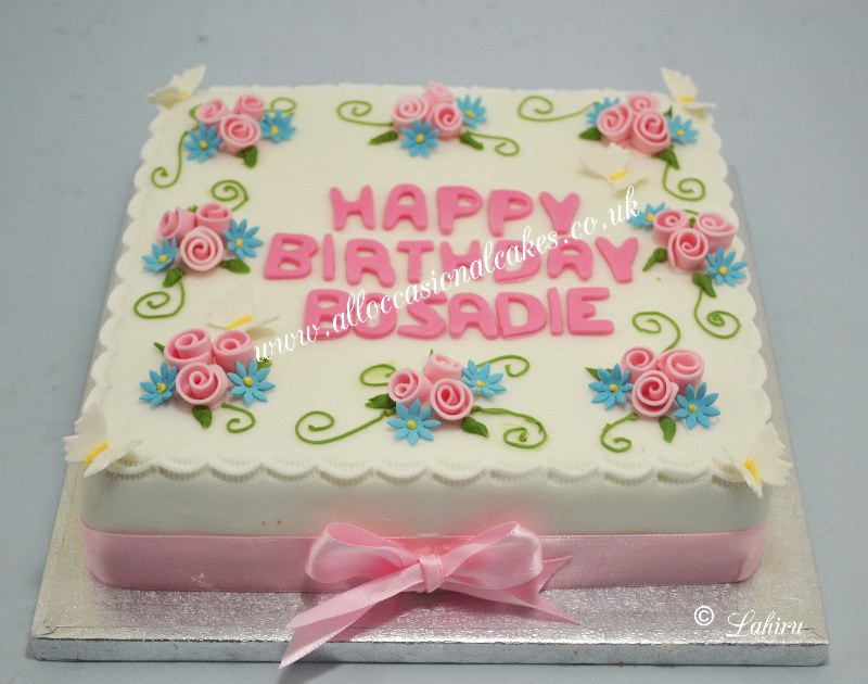 pink rose bunches birthday cake