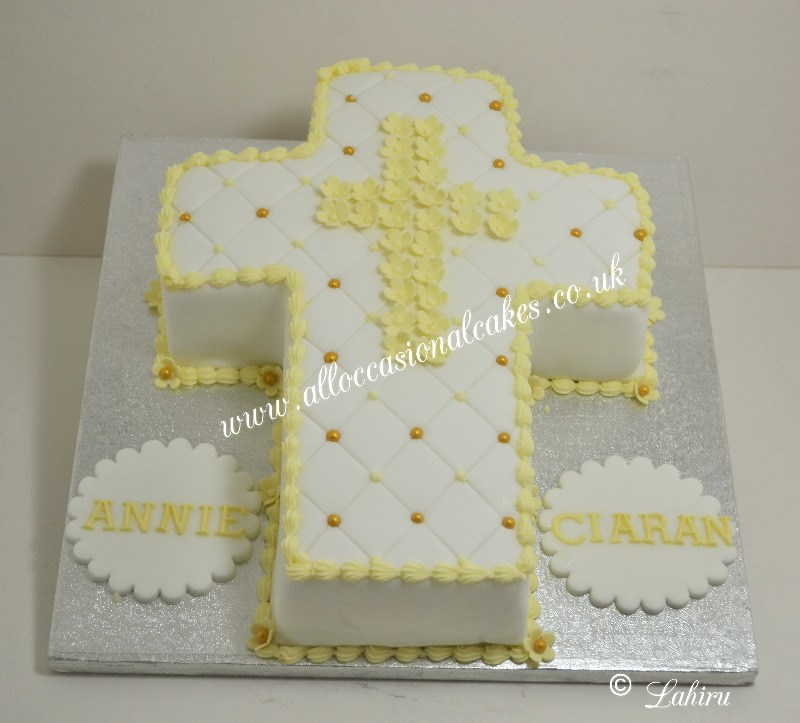 cross religious cake for baby