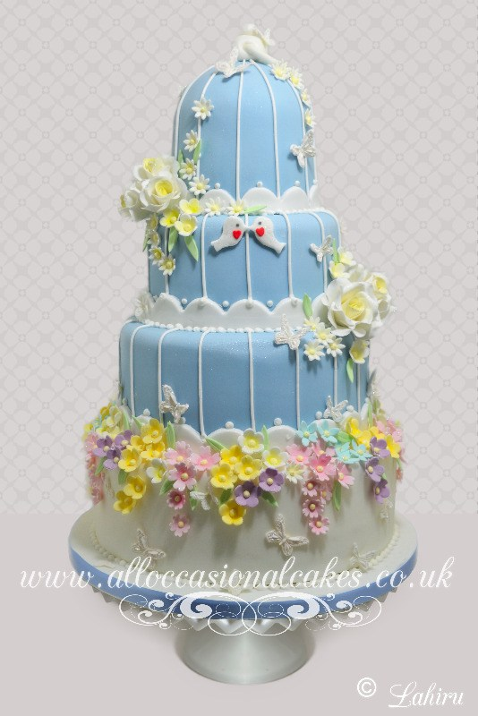 blue bird cage elegant wedding cake