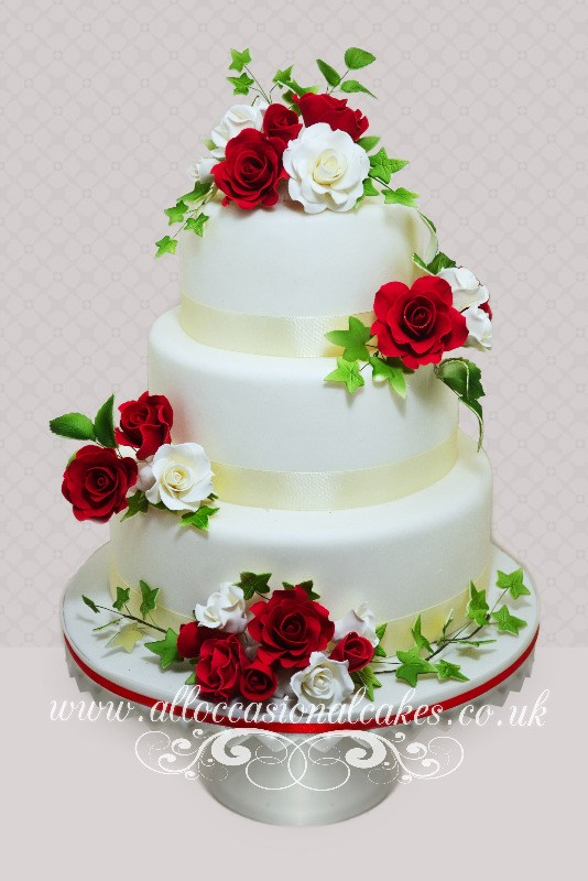 Rose Design On Cake : Bristol wedding cakes, Bath wedding cakes, Yate wedding ...