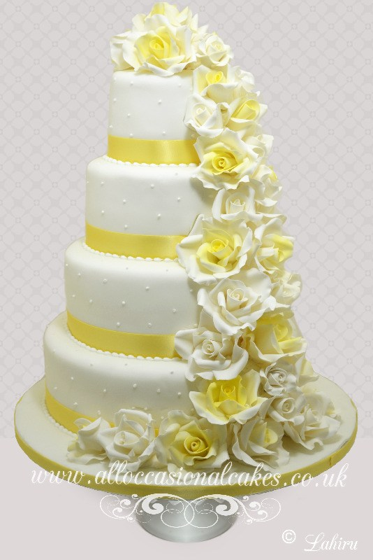 Ivory and Yellow Rose Cascade