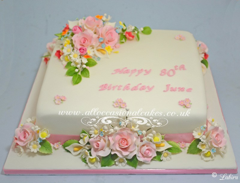 sugar flowers birthday cake