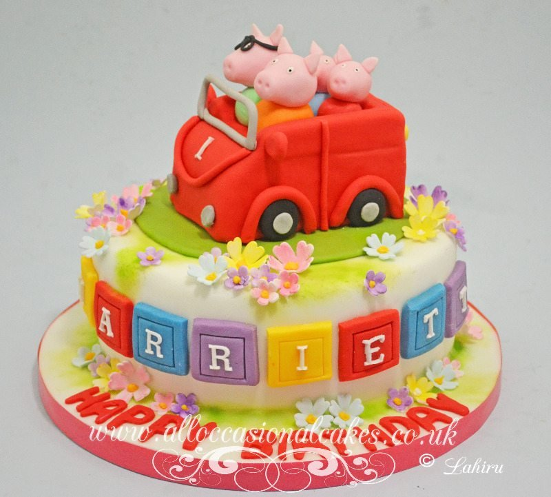 peppa pig theme birthday cake