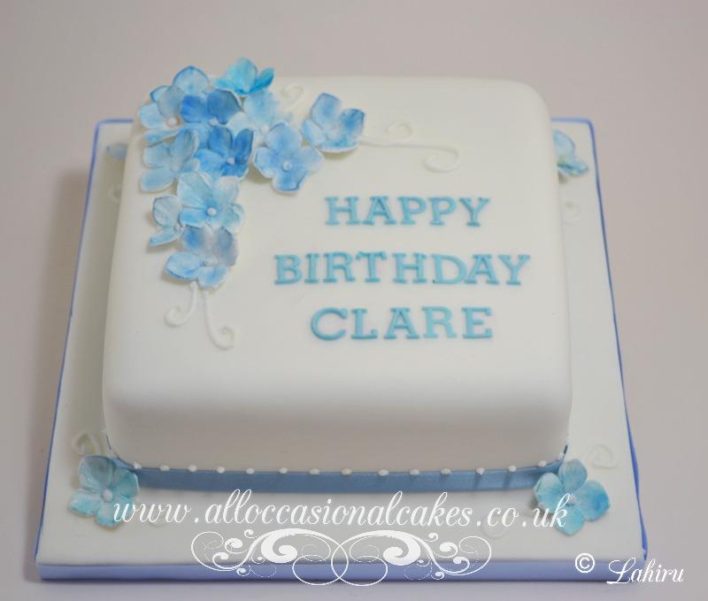 blue hydrangea birthday cake