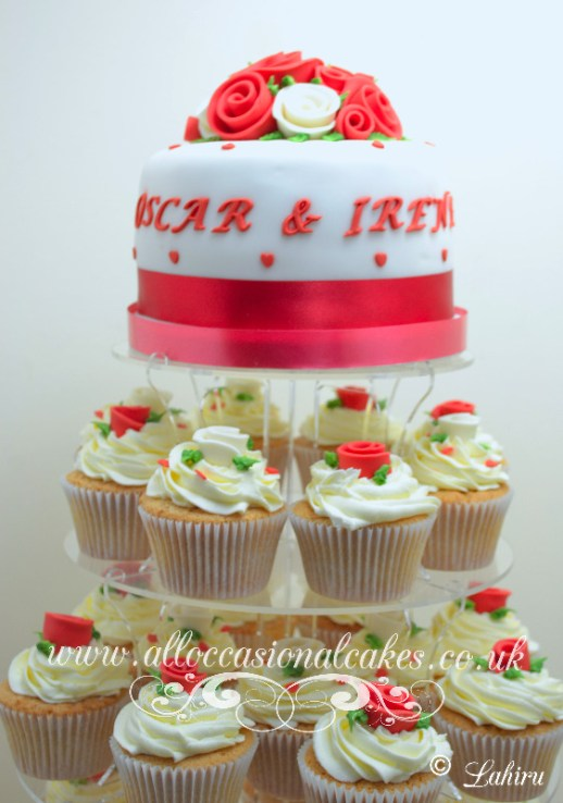 red and ivory rose cupcakes