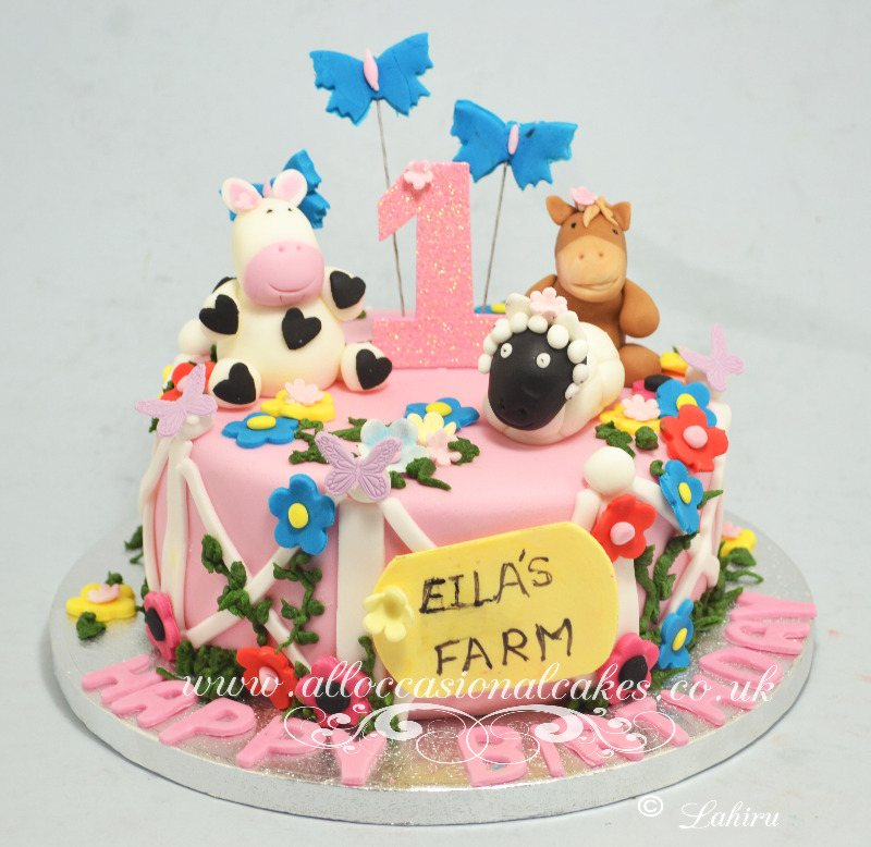 farm themed birthday cake