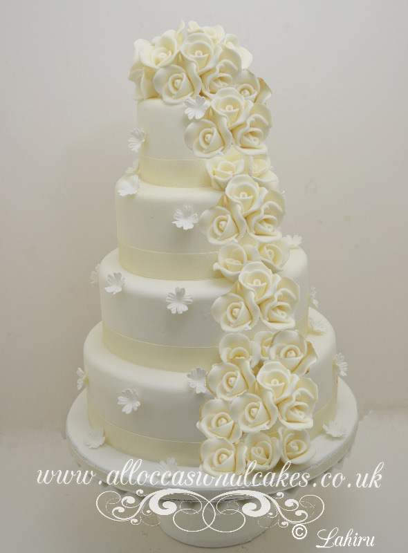 ivory rose cascade wedding cake