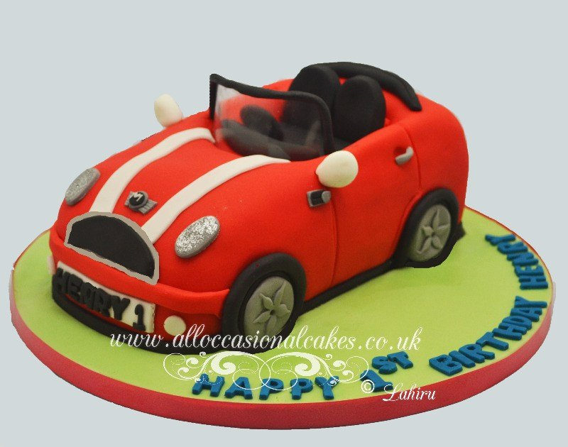 mini cooper push buggy cake