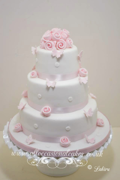 pink rose and butterfly elegant wedding cake Bristol
