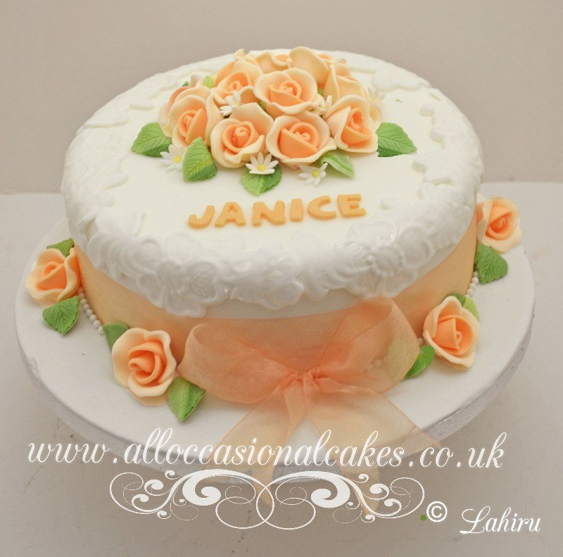 orange rose mum's birthday cake