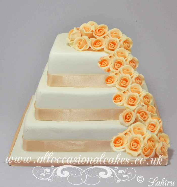 Peach Rose Cascade Wedding Cake