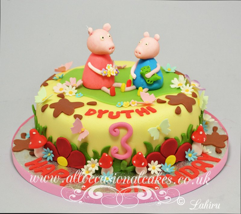 peppa pig themed birthday cake