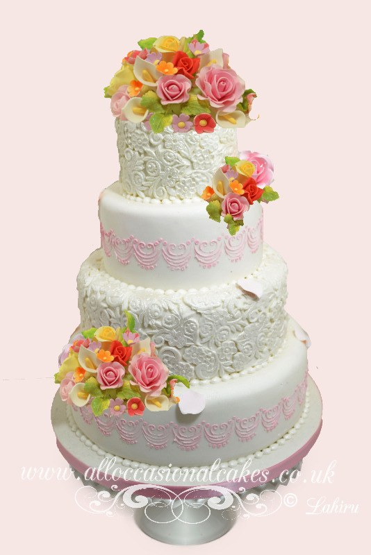 summer floral and lace design wedding cake, Bristol cakes, emerson green wedding cakes