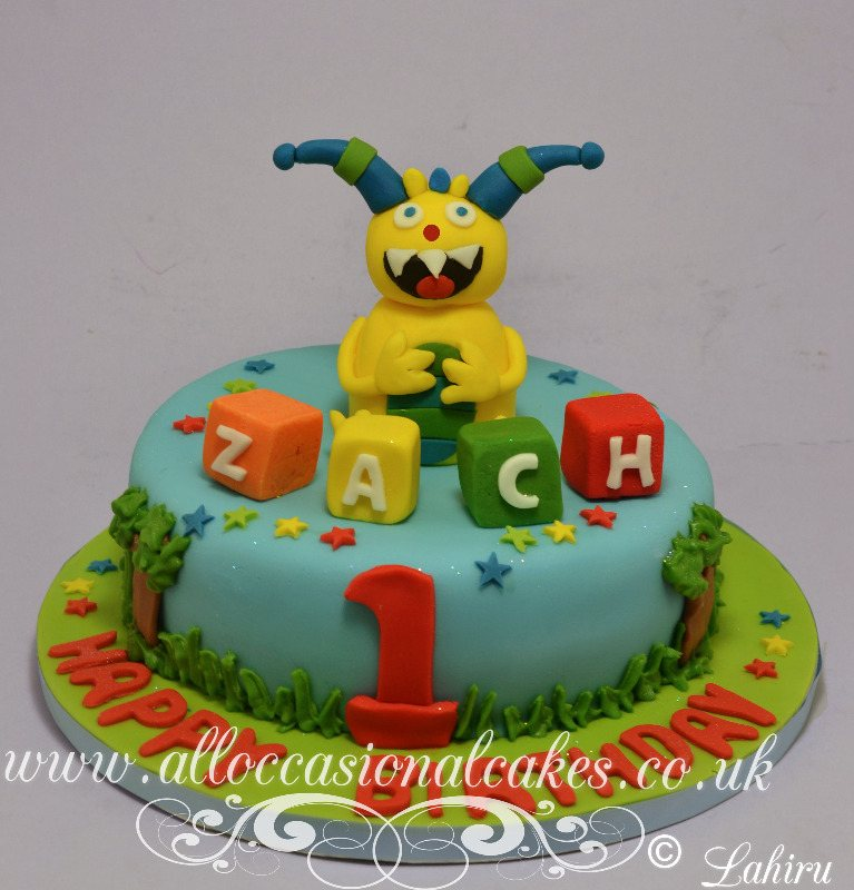 hugglemonster themed birthday cake