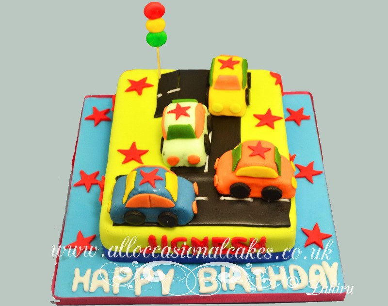 car track 1 st birthday cake