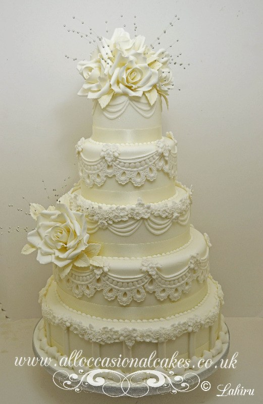 5 tier lace work wedding cake , lace wedding cake bristol