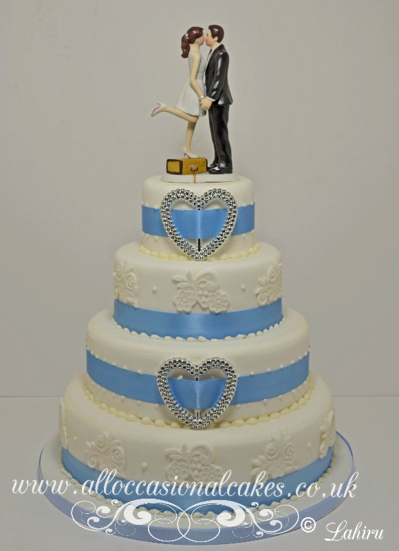 silva heart lace wedding cake 4tier £ 325
