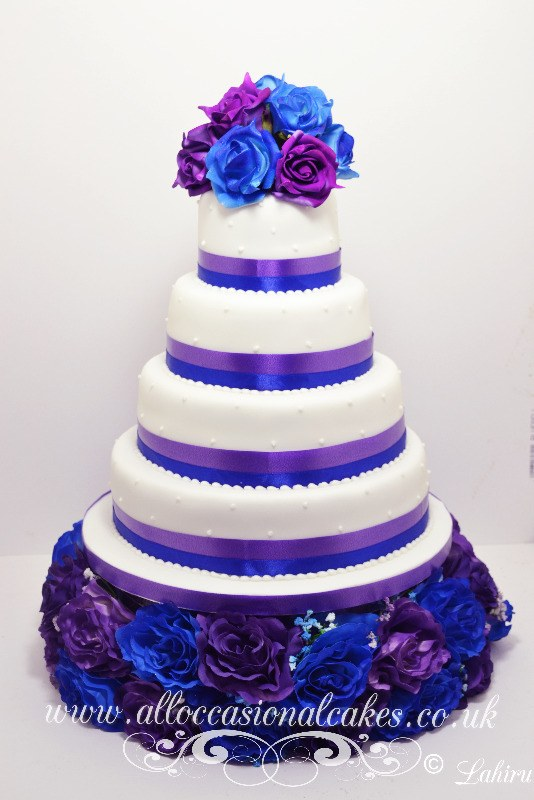 Blue And Purple Themed Wedding Cake From GBP 260