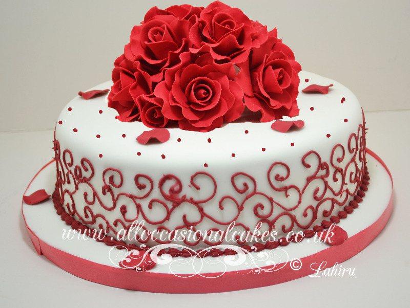 Ruby rose anniversary cake