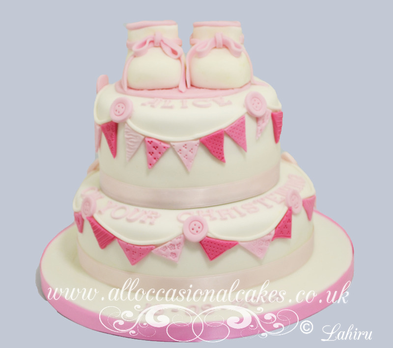 booties christening cake for girl