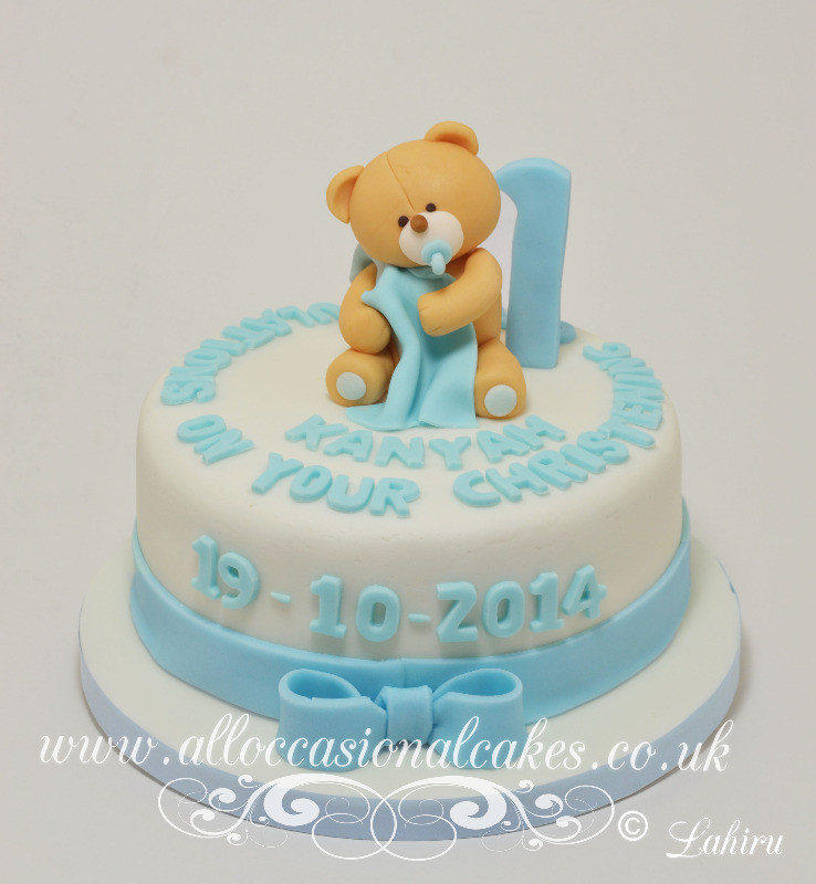 teddy bear christening cake for boy