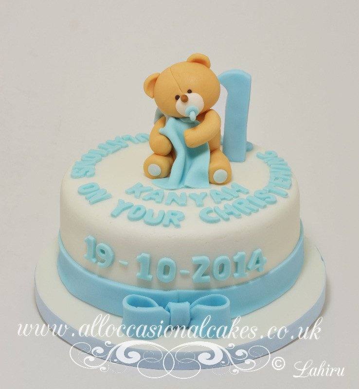 teddy with blanket christening cake