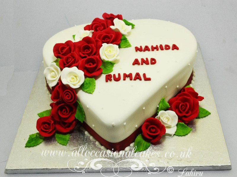 heart shape ruby wedding anniversary cakes