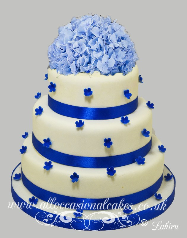 Blue Flower Cascading Wedding Cake £235