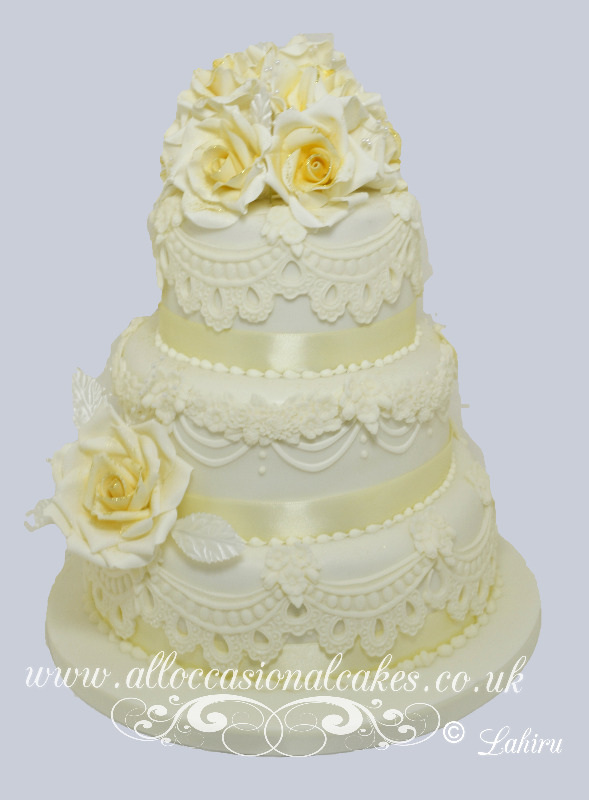 Yellow Rose Lace Wedding Cake £365