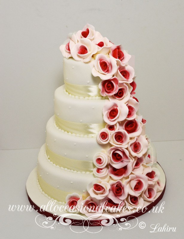 Ruby Rose Cascade Wedding Cake GBP 390