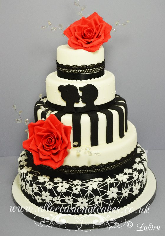 black and white lace wedding 5 tier £ 465 cake