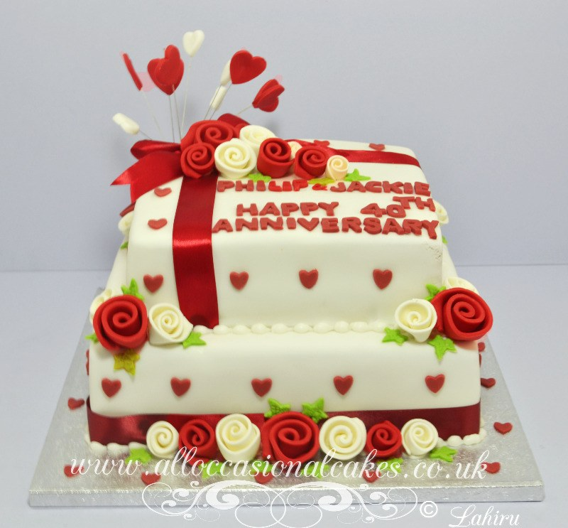 ruby and ivory anniversary cake