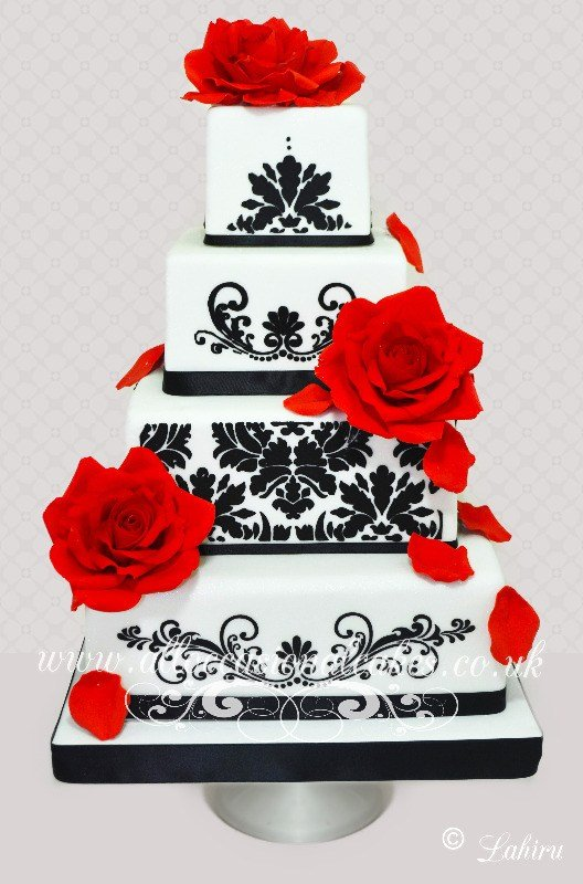 damask designer wedding cake