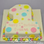 multi coloured dot 1st birthday cake