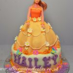 peach colour barbie  cake